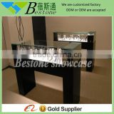 black wooden watch display stand, glass counter with LED light