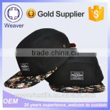 Wholesale Design 5 Panel Trucker Cap Snapback Hat / Flat Brim Floral Blank 5 Panel Camp Cap