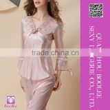Sexy Women's Comfortable Sleepwear Silk Pajamas Set Spring Autumn Leisure Lounge Set