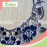 Beautiful mesh flower pattern elegant royal blue 3D collar lace                                                                                                         Supplier's Choice