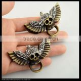 LFD-0097P ~ Wholesale Charm OX Bone Carved Skull Pendants Necklace Crystal Rhinestone Paved Pendant Jewelry Making