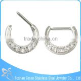 Crystal Nose Jewelry U Shaped Hypoallergenic Body Piercing Nose Rings