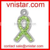 vnistar metal alloy green cancer ribbon charms bulk wholesale for jewelry making TC190-2