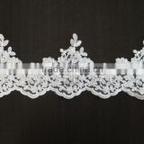 ivory alecnone lace fabric trim for bridal veil, wedding gown
