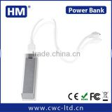 Wholesale power bank 2200mah for mobile phone 2200/2600HAM square shape metal power bank