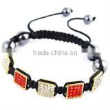 Square crystal charm shamballa bracelets for sale