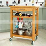 High Quality Bamboo Wheeled Kitchen Trolley with basket Kitchen Storage Cart Kitchen Storage Rack with Drawer