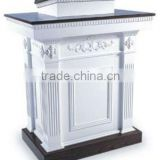 White Tiered wooden carved church Pulpit with one shelf / white church furniture / conference room Pulpit / classroom Pulpit