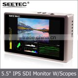 5.5 inch small lcd video display with embedded audio meter squared segmentation ultra-thin IPS panel