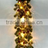Natural look artificial hanging leaves plastic rattan with LED lights for festival decor