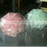Bell/dome shape transparent POE straight umbrella with colorful Sakura flower printing