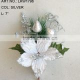 "2014 New Artificial Christmas Silver Poinsettia Pick 7"" Artificial Polyfoam With Berries and Pineneedle Pick"