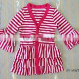 2015 latest long sleeves jacket stripe ruffle jackets baby clothes                                                                         Quality Choice