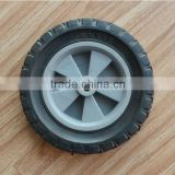 6X1.5 inch semi solid rubber wheel with diamond tread and grey plastic rim for material handling carts