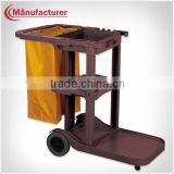 Hot Sell Hotel Plastic 4 Wheels Maid's Janitor Cart/Room Housekeeping Service Cleaning Trolley