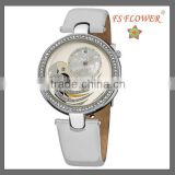 White Leather Watch Strap Beautiful Ladies Watch 3ATM Water Resistant Stainless Steel Watch Case