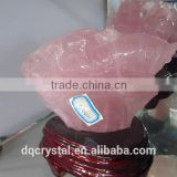 Exquisite natural rose quartz Crystal Animal Carving, natural fish carving