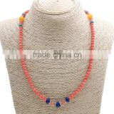 Natural Coral Necklace with Yellow Agate Zinc Alloy antique silver color plated 8x7mm Length:Approx 19.5 Inch Sold By Strand