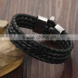 Sample design bangle with stainless steel buckle comfortable black bangle