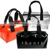 Highly fashionable patent vinyl cosmetic tote bag