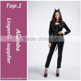 High quality black latex zipper front long romper sex sexy catwoman costume lingerie with tail