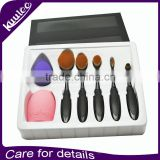 7pcs Amazon Factory Offer WholeSale OEM Private Label Oval Toothbrush Contour Makeup Brush Sets with Silicone brush cleaning egg