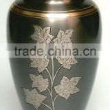 Wholesale India Nice Black Floral Metal Brass Cloisonne Craft Adult Funeral Cremation Urns Jar