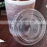 9-10 oz. Clear Flat PS Plastic Lid with Straw Slot for Cold Drink Cup China Manufactory Price