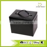 Black Luxurious Leather Jewelry Ring Earring Box Case with Mirror & Lock Leather Jewelry Box