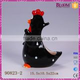 Black rooster ceramic toilet brush holder