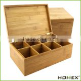 100% Natural Bamboo Tea Box with Hinged Lid Bamboo 8-Compartment Tea Storage Box Tea Bag Holder/Homex_Factory