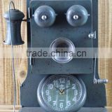 ANTIQUE GREY METAL TELEPHONE SHAPE TABLE TOP CLOCK
