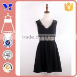 Business Sleeveless Dating Dinner Party Cocktail V NecChic Lace Sheer Back Princess Line Black Dress