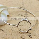 latest design vogue jewellery bangle cheap price adjustable wire bangle with round circle