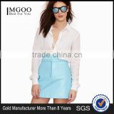 MGOO New Arrival 2016 OEM Custom Light Blue PU Skirts Women Faux Leather Short Straight Skirts 15144A373