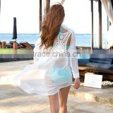 High Waist Retro Women's Fashion Chiffon Shirt Backless Lace Crochet Bikini Swimwear SV003940