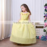 Princess Belle Yellow Dress Cosplay Halloween Princess Costumes Children Rapunzel Cinderella Sleeping Beauty Sofia Party Dress