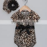 Hot Brown Leopard Girl Romper With Beanie Fancy Baby Onesie Fashion Girl Baby Clothes For Newborn CS90425-26