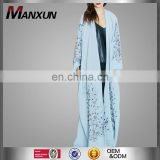 Open Front Abaya Dubai Kimono 2017 Fashion Women Islamic Overcoat Muslim Embrodiery Long Cardigan Abaya