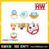 Hot selling plastic musical tambourine baby rattle toys(7pcs)