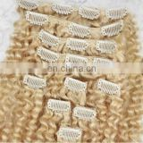 Fashion #blond kinky curl fast shipping clip in hair extensions