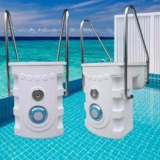 Swimming pool integrated filter, pipeless pool filter