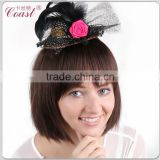 fashion ladies costume golden mini top hat headband