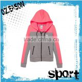 Hot sale new design custom two tone zip up women's gym hoodies                                                                         Quality Choice
