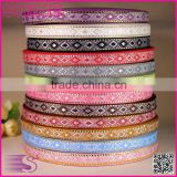Customized colourful mediterranean style rustic fancy DIY decoration polyester ribbon rolls
