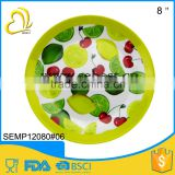 "Custom designs 8"" yellow round shape melamine fruit plate for dinner"