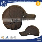 Guangzhou custom winter vintage baseball cap with ear flaps