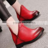 Stylish ladies red leather designer wine red pretty brush color skin women boots