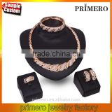 Vintage Charm Necklace Jewelry Fashion Rhionestone Gold Plated 4Pcs Jewelry Sets For Women