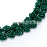 Nice Emerald #5 Color Synthetic Turquoise Carved Rose Howlite Coral Flower Carving Loose Beads 20 pcs per Bag For Jewelry Making